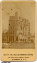 """Image of Franklin Fire Insurance building, Indianapolis, Indiana, ca. 1890 - The front of the card reads """"Franklin Fire Insurance Company's building, S. E. Cor. Circle and Market Streets."""""""