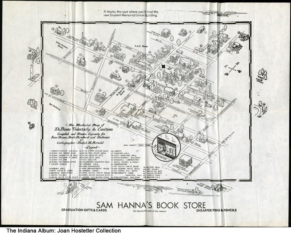 Illustrated Map Of Depauw University Greencastle Indiana Ca 1955