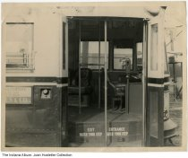 """Image of Interior of a city bus, possibly Indiana, February 1949 - Written on the back is """"Taken at W W [?] Car Barn Feb. 16, 1949 by Lynch - James F. Lynch."""" It is stamped Defendants Exhibit No. 2."""