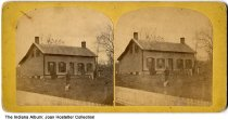 """Image of Residence of George Fay (?), Hope, Indiana, ca. 1890 - A person and a dog are seen in front of a small one story house. On the back is written """"Residence of George Fay (?), Esq."""" and printed """"Stereoscopic views of Hope and vicinity, published and for sale by J. T. Schaub, Photographer, Hope, Ind.""""."""