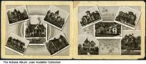 """Image of Artwork showing residences in New Albany, Indiana, ca. 1880 - The homes include those of Albert Trinler, Henry Terstegge (""""The Towers""""), W. S. Culbertson, E. C. Hangary, A. Dowling, N. T. DePauw, L. Frederick, Lawrence Bradley, W. D. Keys, and Heimberger's Gallery."""