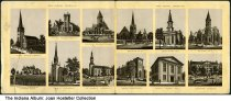 Image of Artwork showing churches in New Albany, Indiana, ca. 1880 - Included are First, Second, and Third Presbyterian, Cornelia Memorial Orphans' Home, Trinity Catholic, St. Mary's Catholic, German Methodist Episcopal, Centenary M. E., Park Christian,  Wesley Chapel M. E., Trinity M. E., and DePauw College.