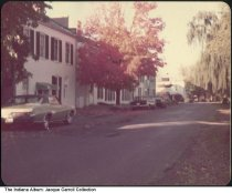 "Image of Cars parked on Front Street, Rising Sun, Indiana, 1974 - Written on the back is ""Rising Sun, Ohio Co., Ind, fall of 74."""