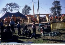 """Image of Tractor display, Wabash, Indiana, ca. 1960 - A sign reads """"CFE - Our 116th Year."""""""