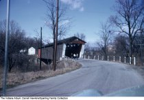Image of Three people walking toward a covered bridge, Wabash, Indiana, ca. 1960
