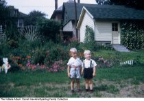 Image of Two boys in a garden, Wabash, Indiana, ca. 1960 -