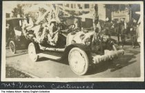 "Image of Car decorated for Centennial parade, Mount Vernon, Indiana, 1916 - The caption reads ""'Mt. Vernon Centennial."" 