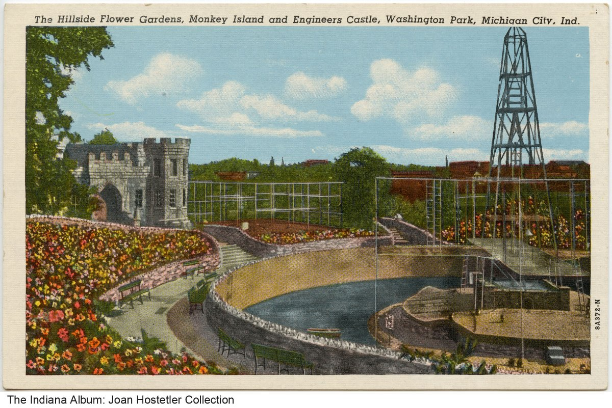 Washington Park attractions, Michigan City, Indiana, circa