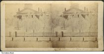 """Image of Front of the County Courthouse after an ice storm, LaPorte, Indiana, 1868 - The caption reads """"Court House, LaPorte, Ind. 1868."""""""