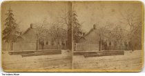 Image of Man in front of a house after a snow or ice storm, Indiana, ca. 1870 - This photo was probably taken in LaPorte County.