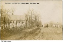 Image of German Church and Cemetery, Poland, Indiana ca. 1911 - Postmarked August 9, 1911.