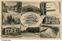 Image of 8 images from Goshen, Indiana, ca. 1910 - This postcard shows the Jefferson Street Bridge, the Courthouse, the public library, Hotel Hascall, the Interurban Station, the water works, the high school, and the dam on the Elkhart River.