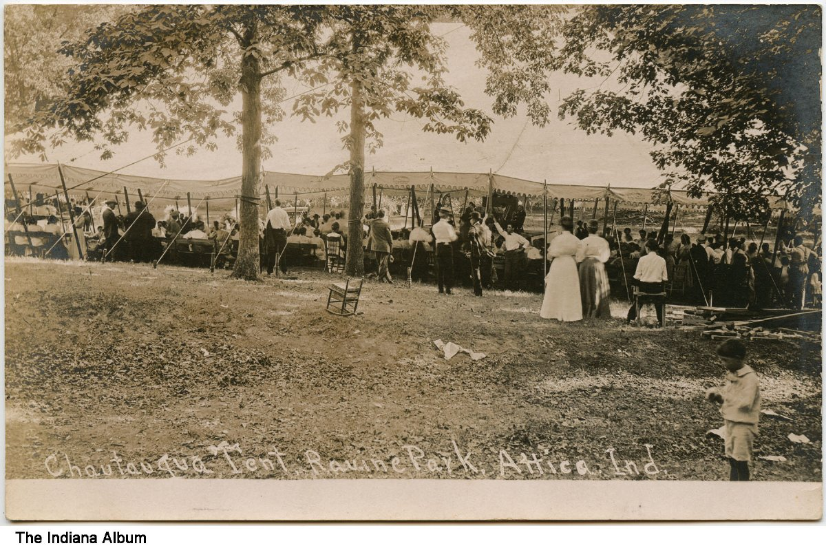 Chautauqua tent at Ravine Park Attica Indiana ca. 1910 - Groups of people are seen by a large tent. & Chautauqua tent at Ravine Park Attica Indiana ca. 1910 - Groups ...