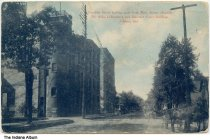 """Image of Businesses on Franklin Street, Elkhart, Indiana, ca. 1910 - The caption reads """"Franklin Street looking west from Main Street, showing Dr. Miles Laboratory and Superior Court Building."""""""