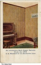 Image of Advertising postcard from Ed. Foster Wallpaper, Attica, Indiana, ca. 1910 - This postcard shows artwork of wallpaper in a room. Postmarked April 13, 1910.