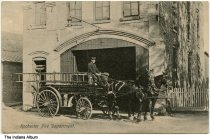 Image of Horse-drawn fire engine, Rochester, Indiana, ca. 1908 - Postmarked March 1, 1908.