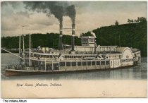 Image of Steamship Cincinnati on the Ohio River, Madison, Indiana, ca. 1907 - Postmarked June 8, 1907.