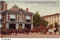 Image of Fire Department Headquarters, Indianapolis, Indiana, ca. 1910 - Postmarked October 13, 1910.