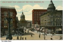 "Image of Indiana State Capitol and English Hotel, Indianapolis, Indiana, ca. 1911 - Postmarked October 24, 1911. The caption reads ""View of Market Street looking west from Circle."""