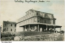 Image of People in front of the Trinity Springs Hotel, Trinity Springs, Indiana, ca. 1910 - Postmarked 1910.