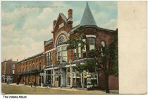Image of Y. M. C. A building, Crawfordsville, Indiana, ca. 1910 - Signs can also be seen for the Metropolitan Life Insurance Company and the W. G. Murphy Clothing Store.