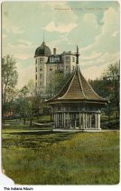 """Image of Gazebo at French Lick Springs Hotel, French Lick, Indiana, ca. 1910 - The caption reads """"Proserpine & Hotel, French Lick, Ind."""""""