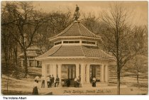 Image of Group at a Pluto Water gazebo at French Lick Springs, French Lick, Indiana, ca. 1908 - A second gazebo is seen in the background.