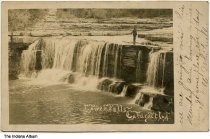 Image of Man by the Lower Falls at Cataract Falls, Spencer, Indiana, ca. 1907 - Postmarked July 28, 1907.