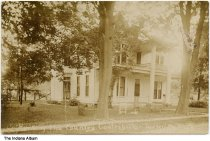 """Image of Home of author Juliet Strauss """"Country Contributor"""", Rockville, Indiana, ca. 1910 - Handwritten on the front is """"Home of the Country Contributor, Rockville, Ind.""""  Juliet Virginia Strauss of Rockville wrote a nationwide column under the pen name of The Country Contributor."""