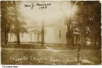 "Image of Friends Church, Bloomingdale, Indiana, ca. 1909 - Postmarked April 26, 1909. On the front is handwritten ""Mrs. J. Boswell, 1909."""