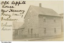"Image of Old Rappite House, New Harmony, Indiana, ca. 1910 - Handwritten on front is ""Old Rappite House, New Harmony, Posey County, Indiana. Schuee (?) House."""