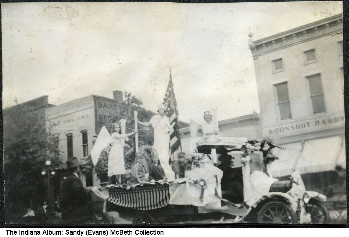 Christmas parade float, Petersburg, Indiana, ca. 1920 - A woman on a ...