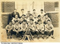 Image of Mount Comfort school baseball team, Mt. Comfort, Indiana, 1932 - The donor identifies the man in the middle row, 4th from the left as her grandfather, Charles Hancock.