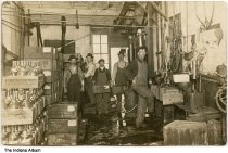 Image of Employees inside Bohrer Bottling Works, Lafayette, Indiana, ca. 1915 - The George A. Bohrer Brewing Company had roots dating to 1842 as Newman and Miller's Brewery (later known as the Spring Brewery). After Prohibition was enacted in 1918, it continued as the Bohrer Bottling Works at their plant on S. 4th Street south of Alabama St. until closing in about 1930.