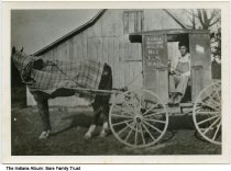 Image of Newton Dean Terhune and his rural mail delivery cart, Greene County, Indiana, ca. 1915 - Newton Dean Terhune is seen on a horse-drawn cart for Rural Delivery Route No. 1 in Greene County, Indiana.