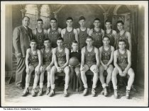 Image of Otwell basketball team, Otwell, Indiana, 1944-1945 - The Otwell Millers basketball team for 1944-1945 were:  back row (left to right) Coach Raymond Taylor, Billy Sarguis, Robert Adams, Donald Flint, Bob Howard, James Housch, Freddie Lucas, Kenneth Powell. Front row: Donald Barrett, Bobby Whitehead, Charles Hellman, student manager Kenneth Hundley, CHarles Young, Jerry Kemp, Buddy McCormack.