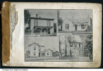 """Image of Homes of four citizens, Petersburg, Indiana, 1894 - The homes of Elias Osborn, S. J. Haines, Leslie Lamb, and Dr. J. R. Adams are shown.    This image was from the book """"Souvenir of Petersburg, Indiana, with Glimpses of Pike County, 1894""""."""