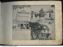 Image of Store and two homes, Petersburg, Indiana, 1894 - Seen are a store owned by M. H. Frank, a house owned by the Ornbaums (?), and Dr. Basinger's residence.  