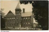 Image of High School, Newport, Indiana, ca. 1909 - Postmarked January 21, 1909.
