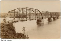 Image of Men on a bridge over the Wabash River, Perrysville, Indiana, ca. 1909 - Postmarked October, 1909.