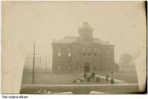 """Image of Group in front of Lagro High School, Lagro, Indiana, 1906 - On the back is handwritten """"Lagro High School 1906 - Frank B. Lawson."""""""
