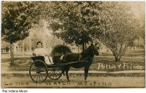"""Image of Woman in a pony cart, Williamsport, Indiana, ca. 1910 - On the front it reads """"Pettie & Prince"""" and """"Come to watch meeting."""" On the back it identifies the location as """"buggy on Boyer St., pointing south; Monroe St. in distance."""""""