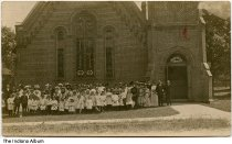 Image of Group outside the Presbyterian Church, Williamsport, Indiana, ca. 1910 -