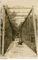 Image of Horse cart on Wagon Bridge, Buffalo, Indiana, ca. 1910 - Postmarked August 25, 1910.