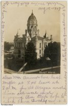 Image of Whitley County Courthouse, Columbia City, Indiana, ca. 1907 - Postmarked August 18, 1907.
