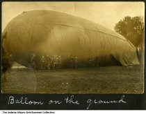 Image of George A. Cosgrove of Montgomery, Indiana during World War 1, ca. 1917 - Army colleagues of George Cosgrove are seen with a large dirigible or hot air balloon operated in France during World War 1.
