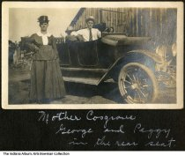 Image of Cosgrove family members and their car, Montgomery, Indiana, 1918 - Seen here are Mother (Anna) Cosgrove, George, and Peggy.