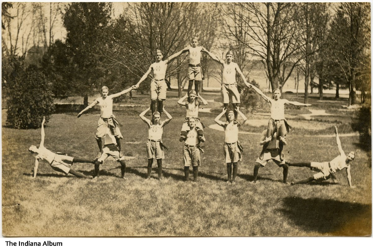 Human pyramid by St  Joseph's College students, Rensselaer, Indiana