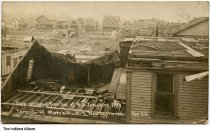 Image of View of tornado damage from B. W. Thompkins residence, New Castle, Indiana, March, 1917