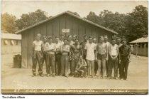 Image of Men outside barracks at the CCC Camp, Henryville, Indiana, June, 1934